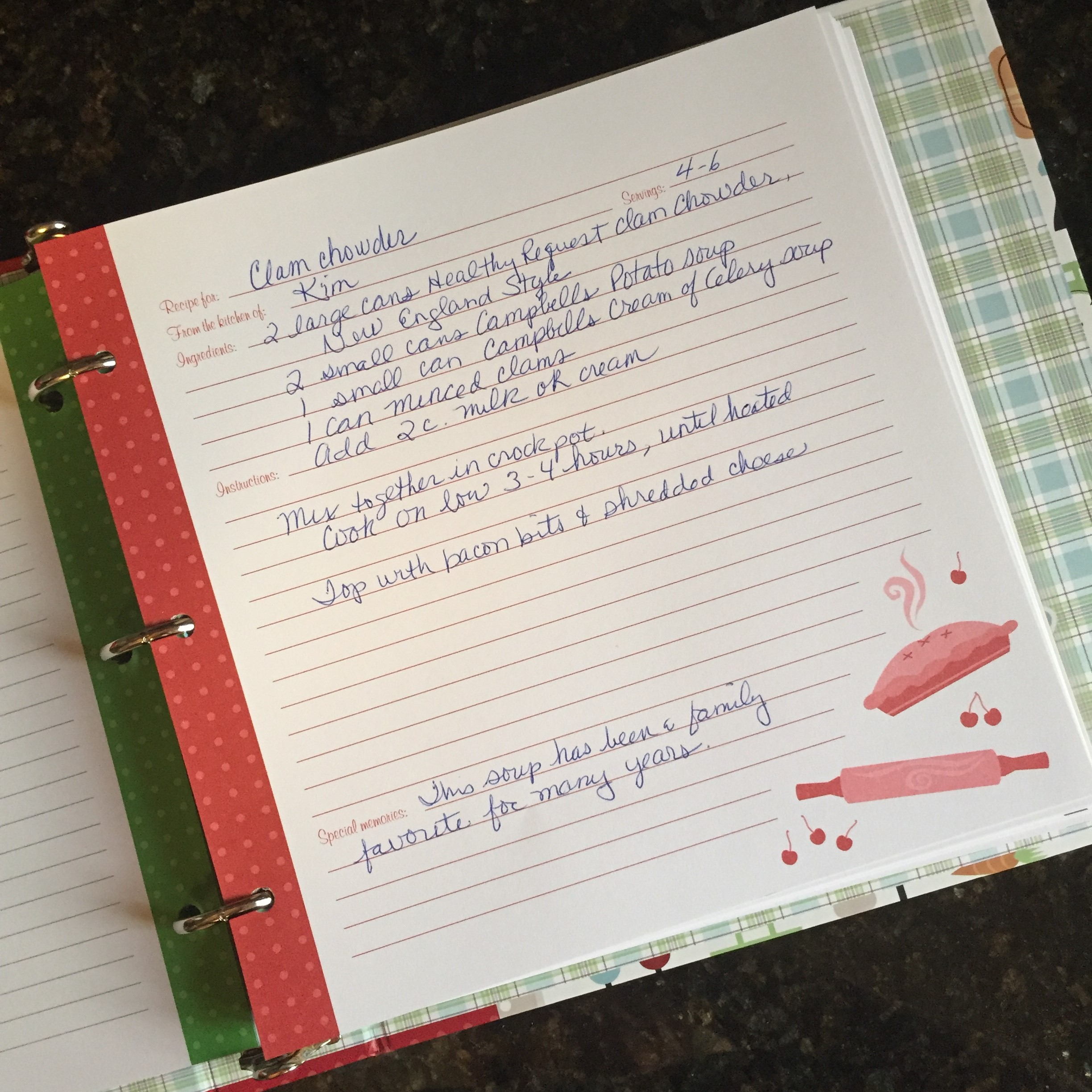 Using a recipe binder is a great way to preserve and share recipes with your family & friends